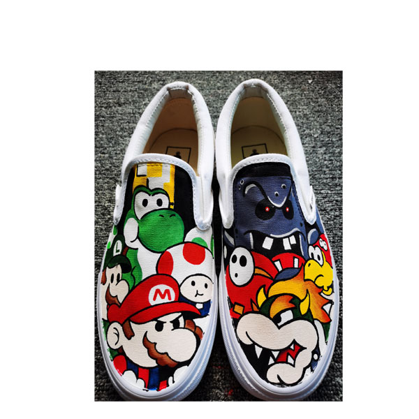 Mario Brothers Painted Canvas Sneakers Hand Painted Shoes Custom