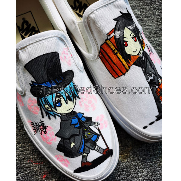 Black Butler Anime Shoes Hand Painted Shoes Custom Painted Shoes-2