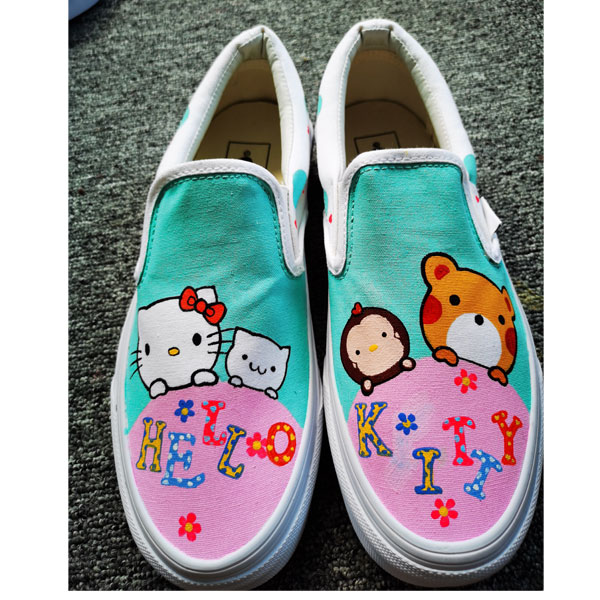 Hello Kitty Cat Kids Shoes Hand Painted Sneakers Hand Painted Sh