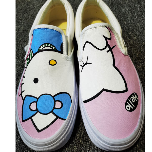 Hello Kitty Shoes Custom Hand Painted Shoes Anime Canvas Sneaker