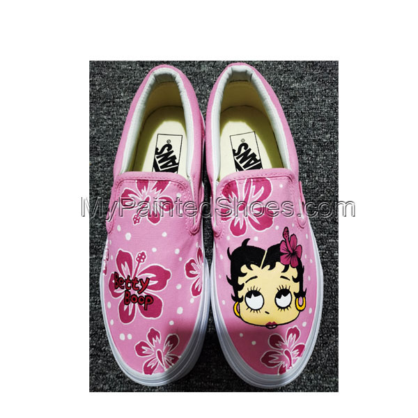 Betty Boop Anime Shoes Hand Painted Shoes Anime Canvas Sneakers-3