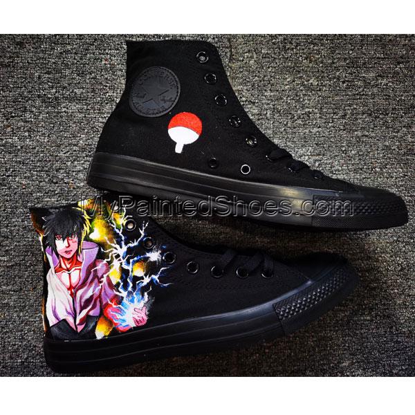 Naruto Sasuke Uchiha Shoes Anime High Tops Hand Painted Shoes-3