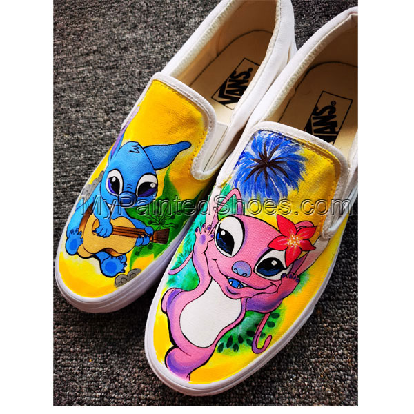 Disney Stitch Shoes Anime Hand Painted Shoes Women Men's Canvas-2
