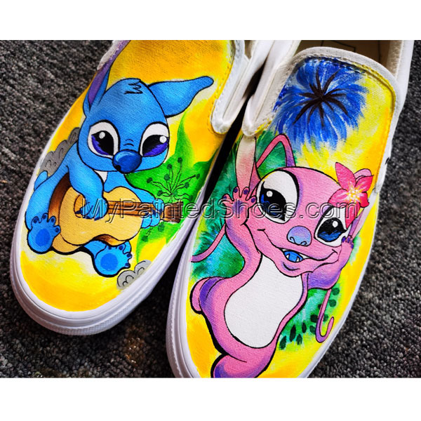 Disney Stitch Shoes Anime Hand Painted Shoes Women Men's Canvas-4