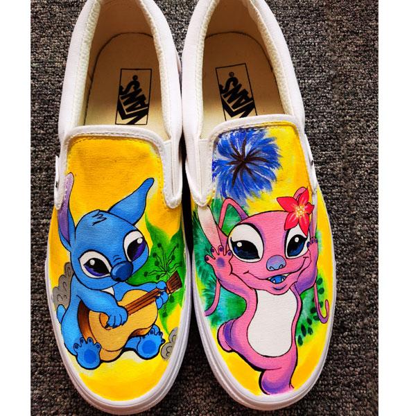 Disney Stitch Shoes Anime Hand Painted Shoes Women Men's Canvas
