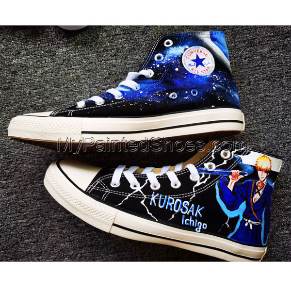 Bleach Rukia Kuchi Shoes Anime Shoe High Tops Hand Painted Shoes-1