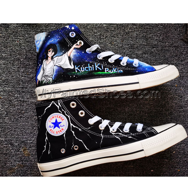 Bleach Rukia Kuchi Shoes Anime Shoe High Tops Hand Painted Shoes-2