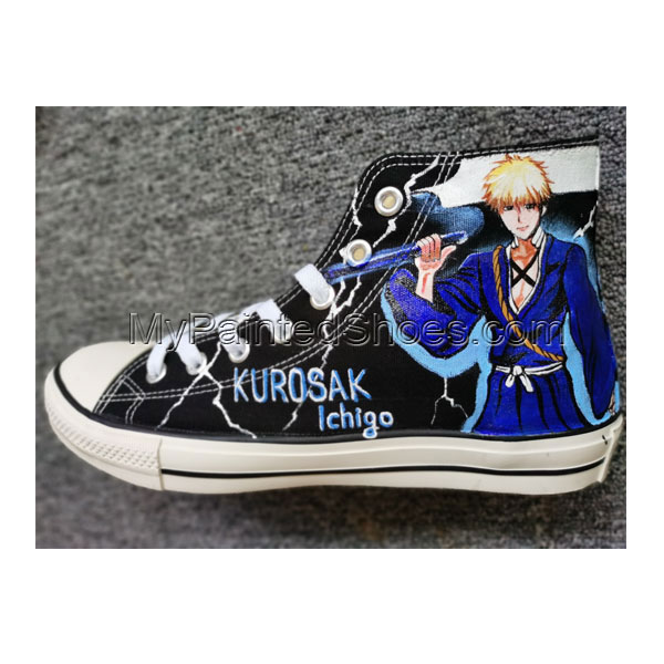 Bleach Rukia Kuchi Shoes Anime Shoe High Tops Hand Painted Shoes-4