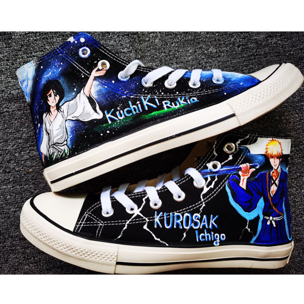 Bleach Rukia Kuchi Shoes Anime Shoe High Tops Hand Painted Shoes