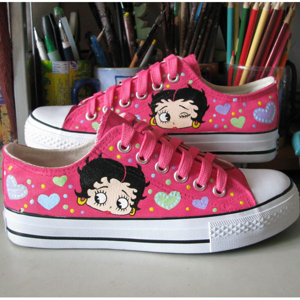 Betty Boop Shoes Hand Painted Shoes Women Men's Anime Shoes-3
