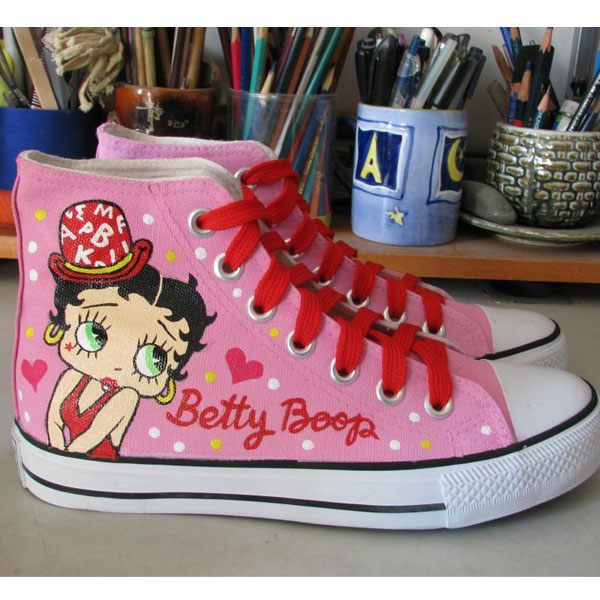 Betty Boop Shoes Hand Painted Shoes Women Men's Anime Shoes