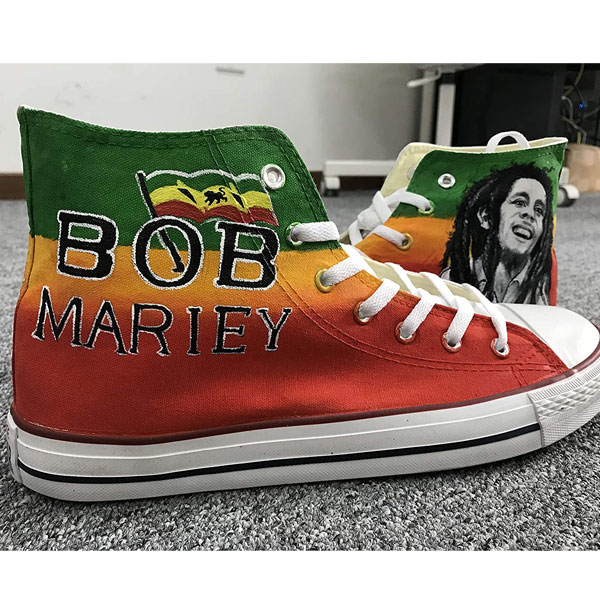 Bob Marley Custom High Top Canvas Shoes Hand Painted Shoes Women