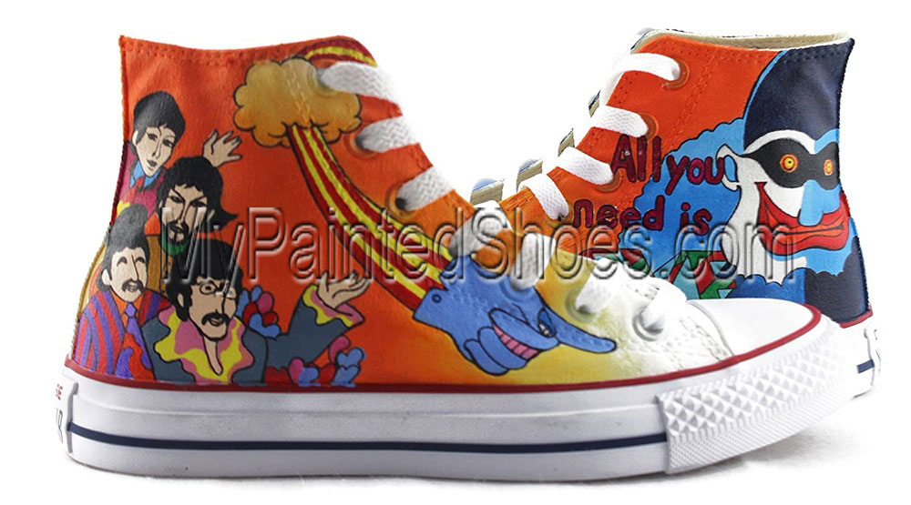 The Beatles Hand Painted Shoes Anime Design Custom High Top Men-1