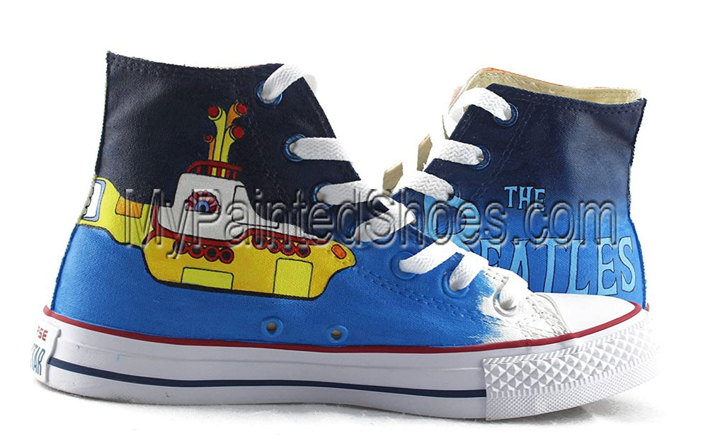 The Beatles Hand Painted Shoes Anime Design Custom High Top Men-3