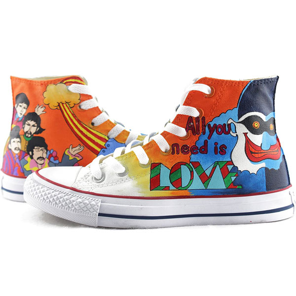 The Beatles Hand Painted Shoes Anime Design Custom High Top Men