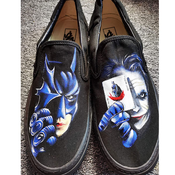 Custom Hand Drawn Batman And Joker Card Design Shoes Men Women's