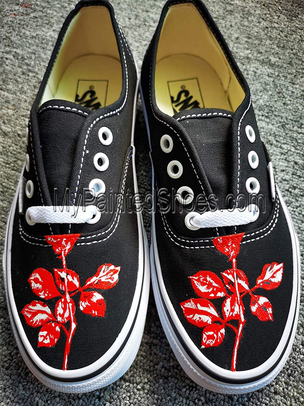 Custom Hand Drawn Rose Design Shoes Rose Women's Shoes Birthday-3