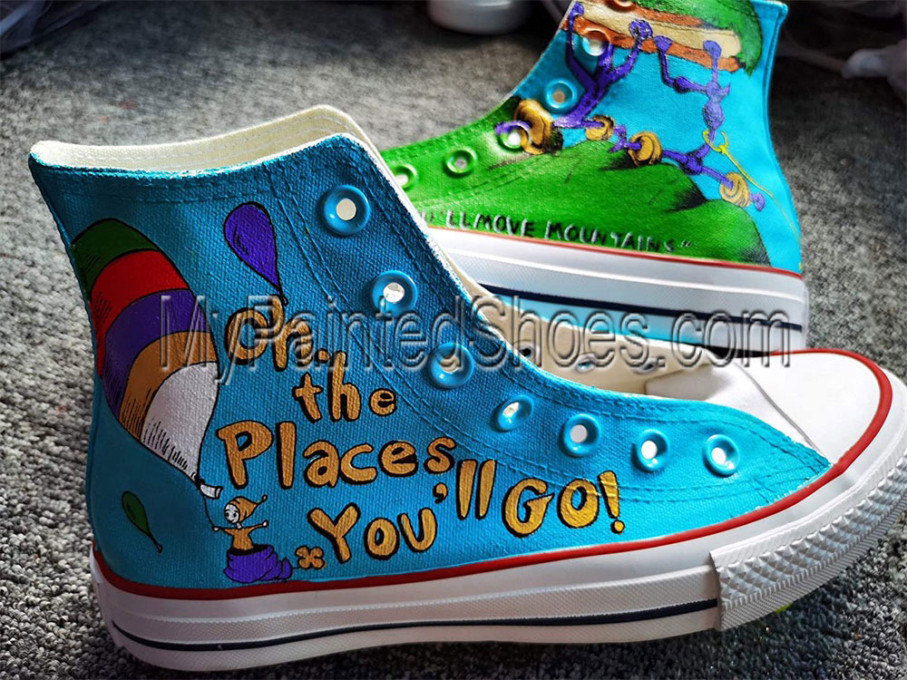 Hand Painted Shoes Design Custom Dr. Seuss High Top Men Women-3