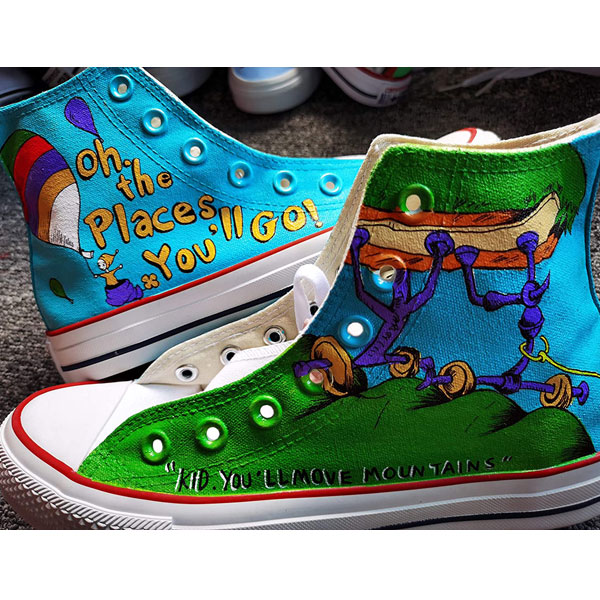 Hand Painted Shoes Design Custom Dr. Seuss High Top Men Women