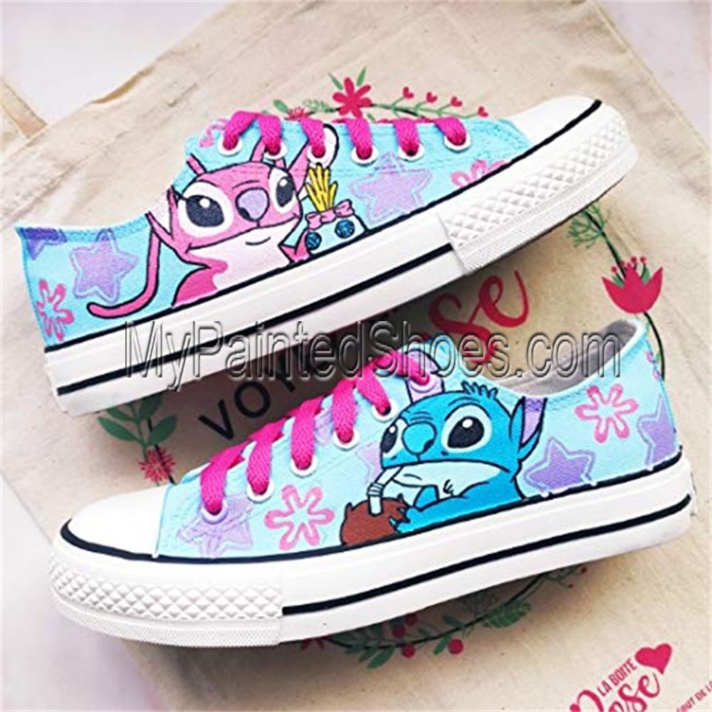 XT02 Lilo and Stitch Hand-painted Canvas Shoes Women Disney Lilo-2