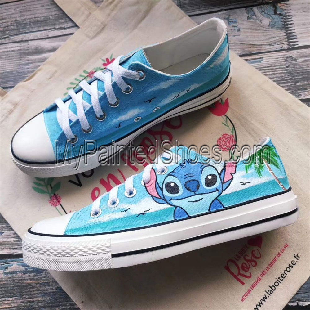 Lilo and Stitch Hand Painted Shoes Women Men's Canvas Sneakers-1