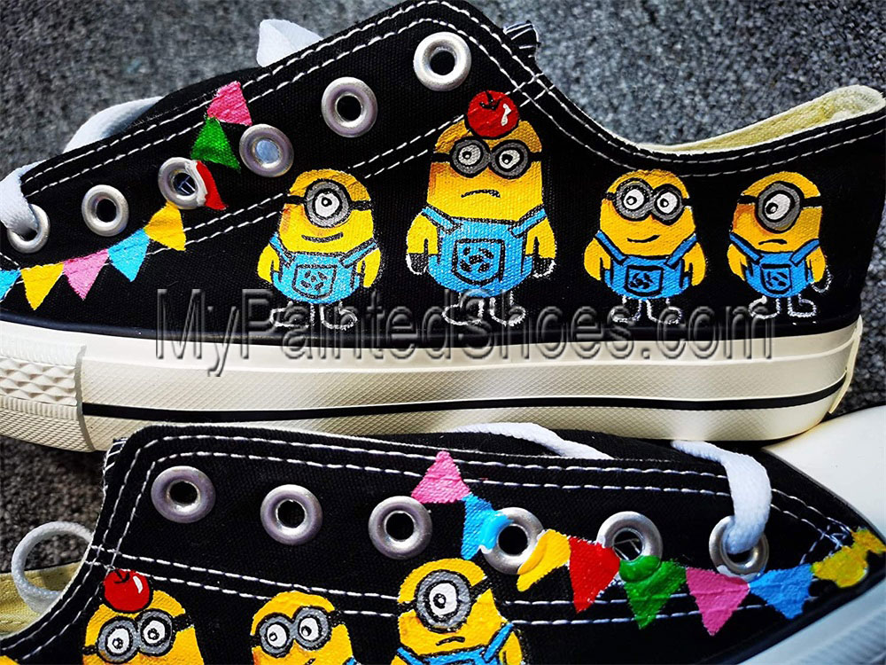 Minions Hand Painted Shoes Women Men's Canvas Sneakers-3
