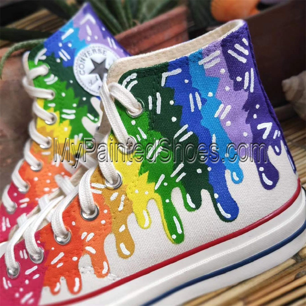 Design Custom Colorful Hightop Canvas Sneakers Hand Painted Shoe-2