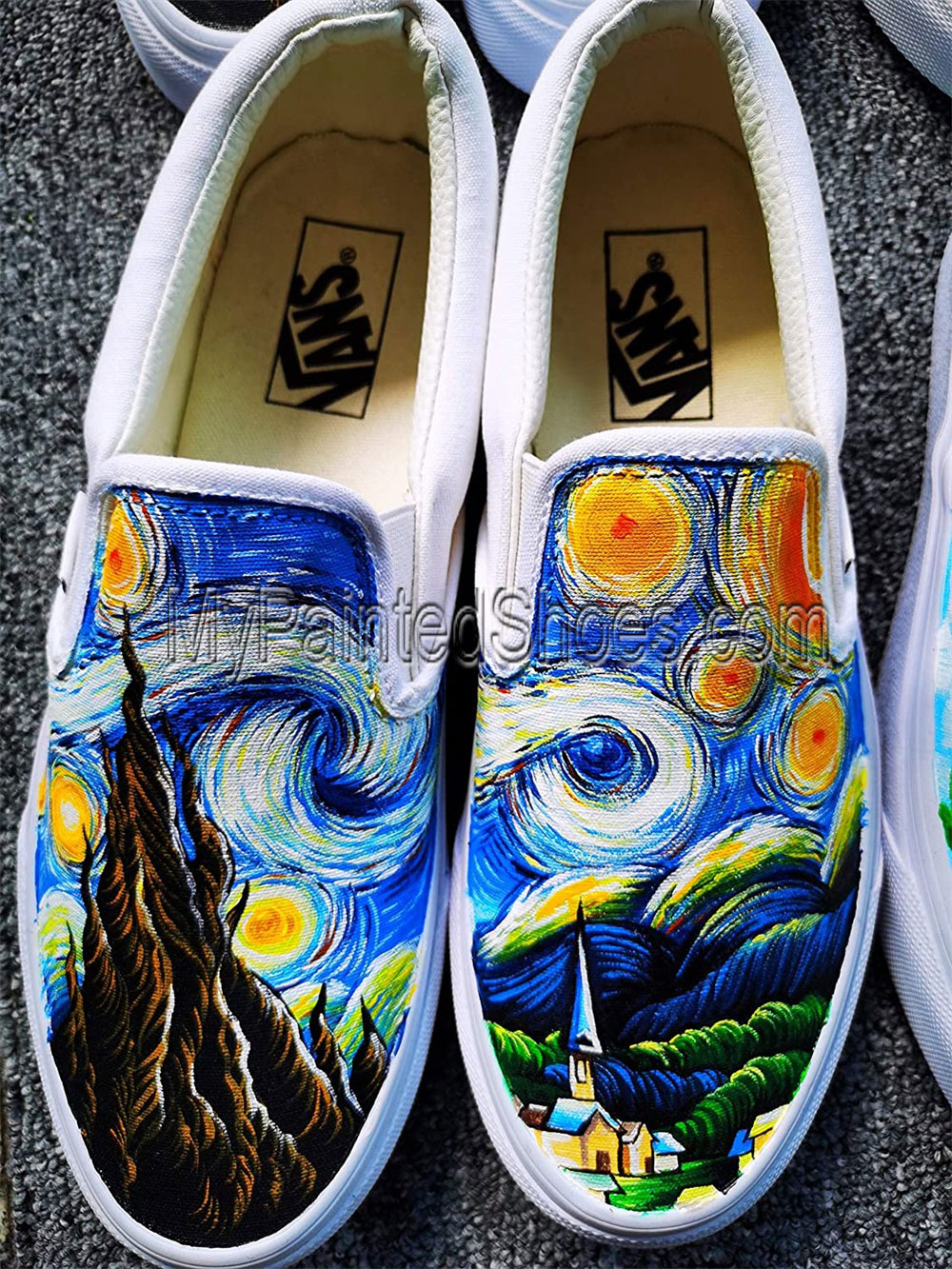 Hand Painted Shoes Vincent van Gogh Shoes The Starry Night Shoes-4