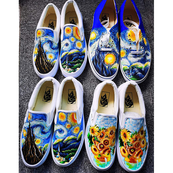 Hand Painted Shoes Vincent van Gogh Shoes The Starry Night Shoes