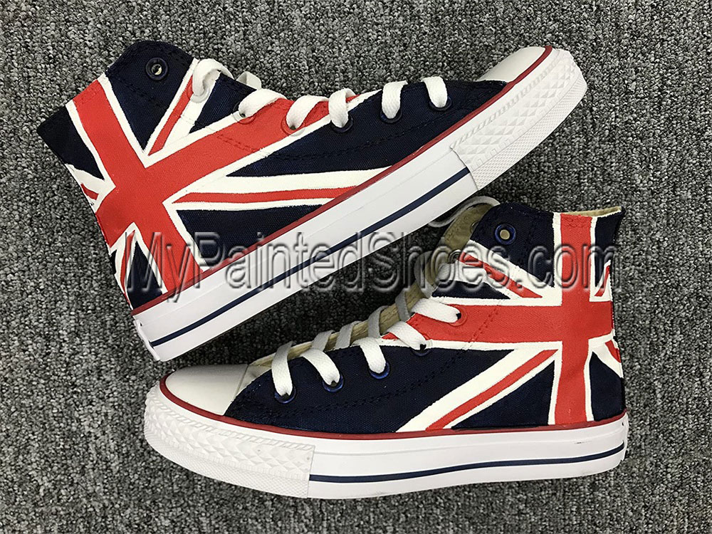 Union Jack British Flag High Tops Sneakers Hand Painted Shoes Wo-1