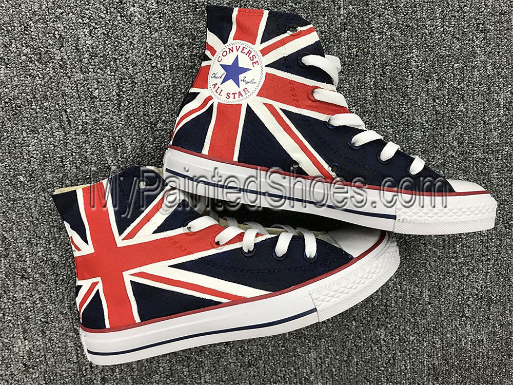 Union Jack British Flag High Tops Sneakers Hand Painted Shoes Wo-2