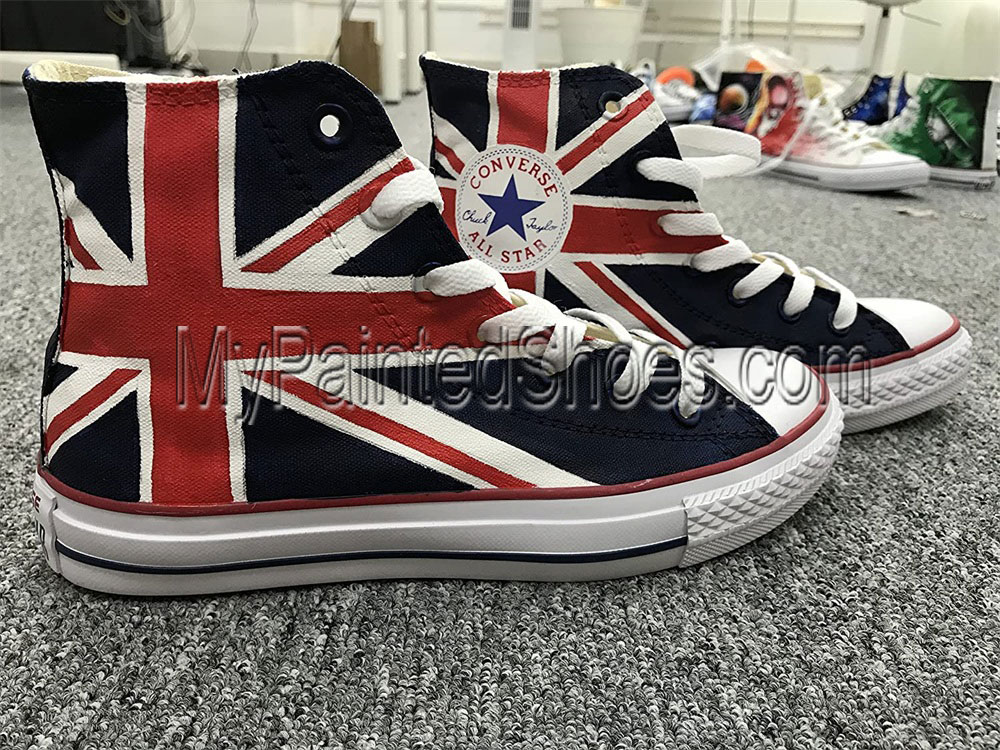 Union Jack British Flag High Tops Sneakers Hand Painted Shoes Wo-3