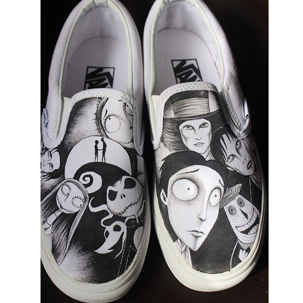 Jack and Sally Shoes Tim Burton's Hand Painted Shoes Women Men's