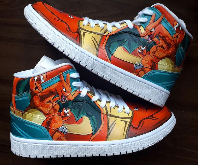Charizard Air Jordan 1 Hand Painted Custom Shoes-1