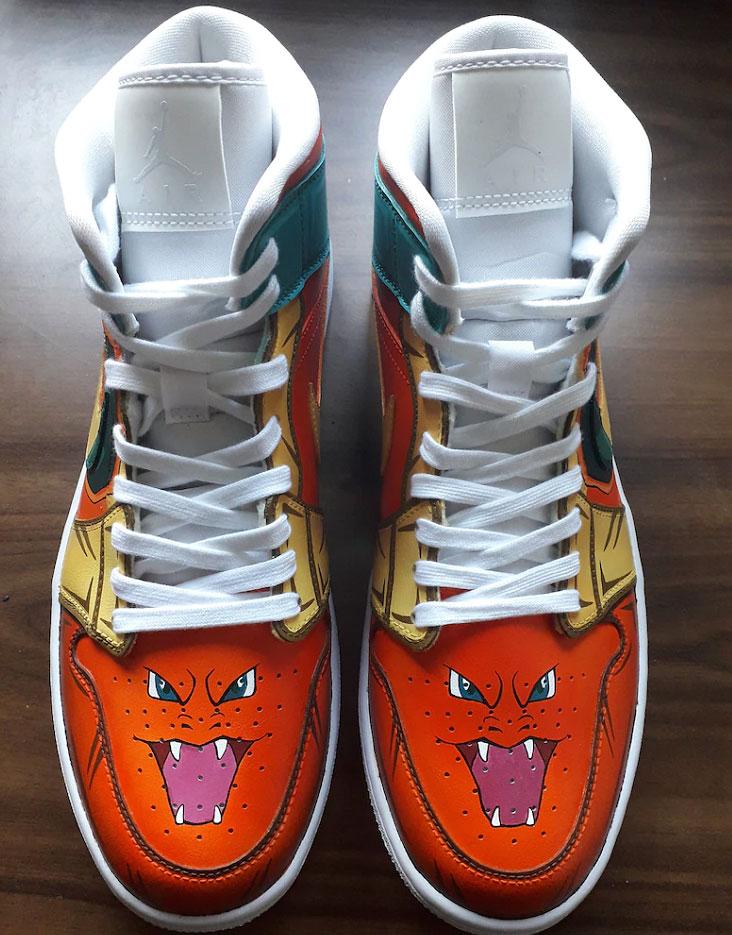Charizard Air Jordan 1 Hand Painted Custom Shoes-4